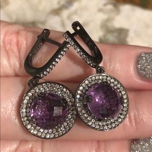 Jewelry - stunning amethyst CZ earrings Sterling Silver